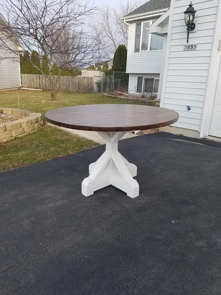 Farmhouse Tables Nikolaus Rustic Woodwork - Farmhouse table with white base