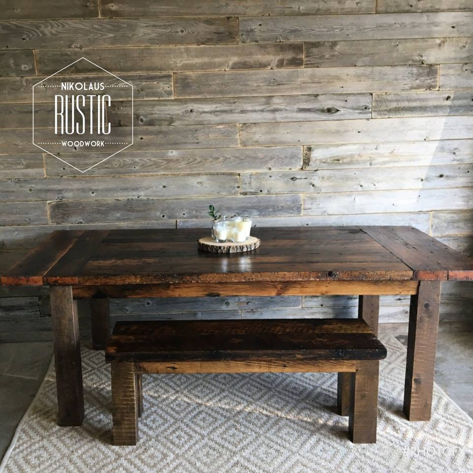 Two Tone Rustic Farmhouse Table: A 5 Ft. Dining Table With Matching Bench  And 4 Chairs. We Also Crafted Three Saddle Seat Bar Stools To Match!