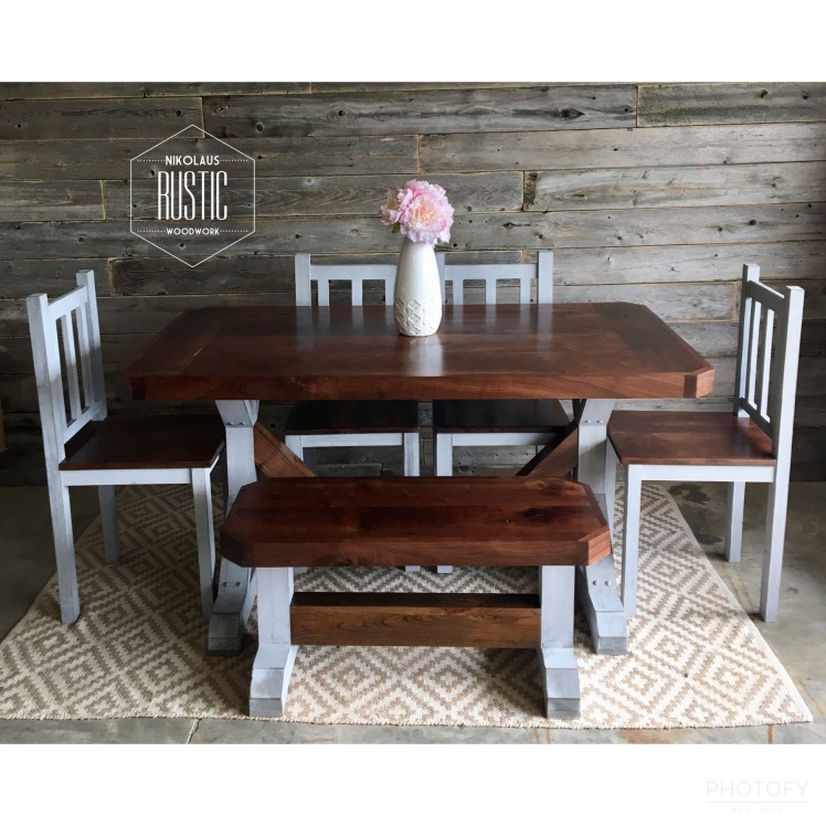 Classic Pedestal Farmhouse Table A Look This Dining Has Legs Matching Bench And Custom Stain